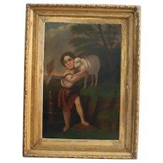 Saint John With The Lamb Large Antique Oil Painting 18th  Century Christian Catholic Art Museum Worthy Religious Theme