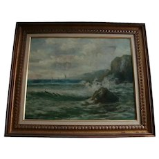 19th Century Spanish Painter Felipe Checa Antique Oil Painting Rocky Coast Spain Seascape European