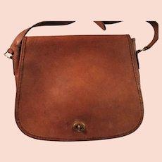Vintage Coach Stewardess Bag e Made in United States British Tan Leather Shoulder Handbag