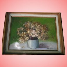 Still Life Flowers in Vase Floral Oil Painting on Canvas Artist Signed Mid-Century