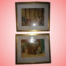Pair Antique European Royalty & Shakespeare Scene Hand Colored Lithographs Framed Beautifully