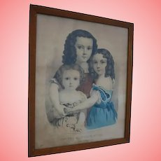 Currier & Ives  Hand Colored Lithograph Little Girls and Doll