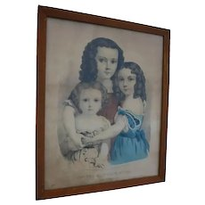Three Sisters Antique Currier & Ives  Original Hand Colored Lithograph Little Girls and Doll