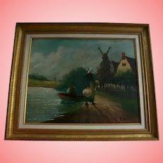 19th Century Antique Dutch Flemish Lake Side Seascape Original Oil Painting Holland Windmill Landscape Signed