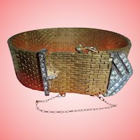 Early CINER Scarce Vermeil Sterling Art Deco Era Brickwork Wrap Bracelet w/Sterling Geometric Buckle Signed