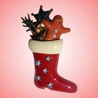 Swarovski Signed Enamel Christmas Stocking with Holiday Gifts