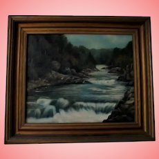 19th C Rhode Island Antique Oil Painting Circle of Edward Mitchell Bannister Charles G Calder Label 19th Century Providence RI Landscape Barbican Hudson River School