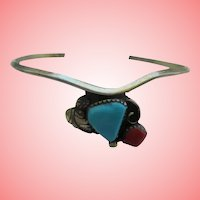 Sterling Turquoise Red Coral Cuff Bracelet Navajo