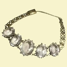 Art Deco Era 14K Gold-Filled Crystal Intricate Link Bracelet 1930's