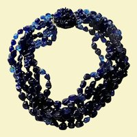 Spectacular Gripoix Cobalt Blue Glass French Designer 6 Strand Haute Couture Necklace Floral Clasp