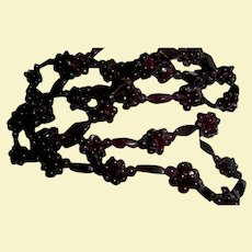 Vintage Garnet Grape Cluster Earrings and Sautoir Necklace Set