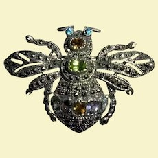 Chunky Adorable Sterling Silver Marcasite & Gemstone Insect Bug Bumble Bee Brooch 925