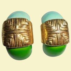 Robert Blue & Green Enamel Gold-Plated Shrimp Clip Earrings Originals by Robert DeMario Miriam Haskell Designer