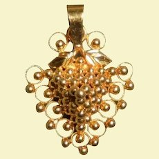 22K Solid Gold Grapes Cluster Pendant Art Nouveau Style Higher than 14K & 18K