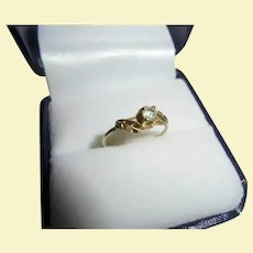 Antique 14K Aquamarine Art Nouveau Size 4 Pinky Ring Yellow Gold Leaves Design