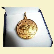 Rare Gubelin Gold-Plated Zodiac Aquarius Charm / Pendant Signed