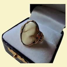 Antique 10K Gold Ghostly Cameo Ring Ornate Frame Carnelian Shell Size 5.25