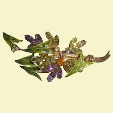 Huge Stunning Vendome Coro Brooch Enamel Crystal Floral Design