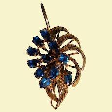 Vintage 14K Solid Gold & Sapphire Pendant Jewelled