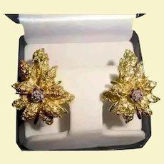 18K Gold Diamond Black Starr & Frost Couture Omega Back Earrings Flower Motiff