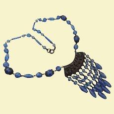 Art Deco Sterling Silver Czech Blue Crystal Draping Bib Necklace