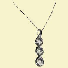 Past Present Future Triple Diamond 10K White Gold Pendant Necklace