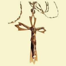 """Oreste Giovanni Corletto 18K Solid Gold Crucifix Cross Pendant on 14K Gold 18"""" Rope Chain High End Italian Designer Catholic Italy Jewelry"""