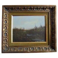 American Realism Landscape Painter John Lewis Egenstafer 1968 Oil Painting of Marsh Land in Gilt Ornate Frame Listed Pennsylvania / NJ Artist