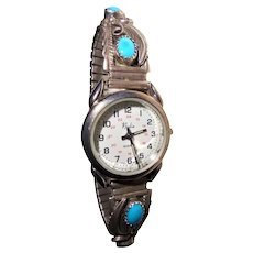 Navajo Running Bear Signed Sterling Silver Turquoise Squash-Blossom Watch-Tips Wristwatch