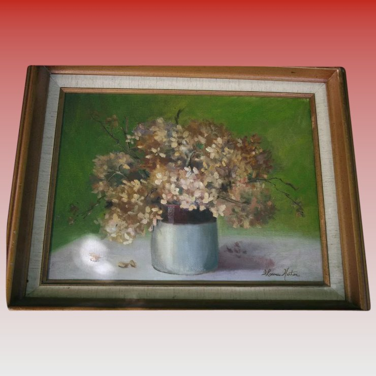 Still Life Vase With Flowers Oil Painting Signed Paintings