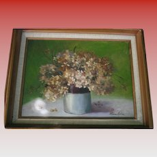 Still Life Flowers in Vase Floral Oil Painting on Canvas Artist Signed Mid Century