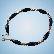 Pretty Sodalite Beaded Bracelet Gold Filled Clasp