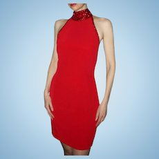 Red! Bob Mackie Designer Jeweled Halter Racer Back Party Evening Cocktail Dress Vintage