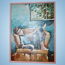 Portrait Carefree Young Boy Mid Century Original Oil Painting Signed
