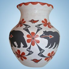 "8 1/2"" Signed Mildred Antonio Native American Acoma Pottery Olla Bear & Birds"