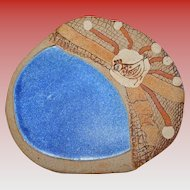 Native American Bird Blue Enamel and Clay Display Plate Artist Signed