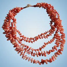 Genuine Branch Coral 5 Strand Necklace with MOP Floral Closure