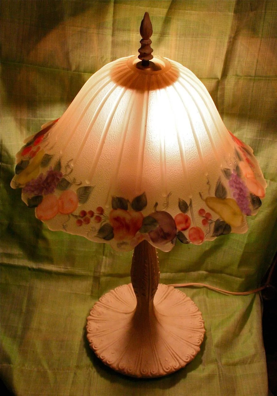 Fruit Reverse Painted Glass Table Lamp Shade Artist Signed Greta S Gallery Ruby Lane
