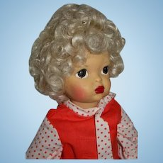 "16"" Pat Pending Terri Lee Doll Head Full of Blonde Curls Painted Face"