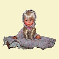 1960s FURGA Italy Platinum Doll with Eyelashes Lilac Bonnet & Dress