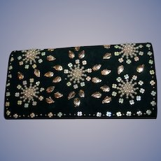 Vintage Antelope Suede Hand  Beaded Evening Bag or Clutch Spain