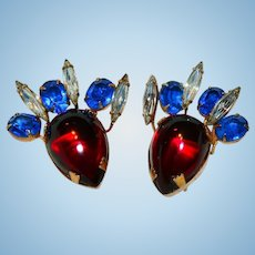 Hattie Carnegie Signed Poured Glass Earrings Christmas Red, Blue & White / Clear