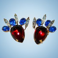 Patriotic Hattie Carnegie Signed Poured Glass Earrings Red, Blue & White / Clear