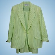 Summer Seersucker Green & White Via Condotti FL Size 14 Ladies Beautiful  Skirt Suit