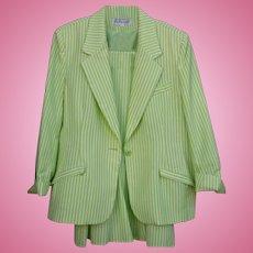Summer Seersucker Green & White Via Condotti FL Size 14 Ladies Beautiful  Skirt Suit