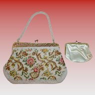 Contrasting Embroidered and Beaded Vintage White Floral Evening Bag with Gold Frame