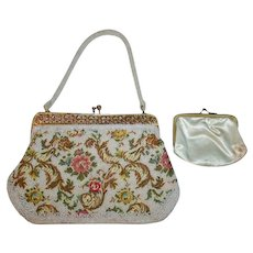 Spring Contrasting Embroidered and Beaded Vintage White Floral Evening Bag with Gold Frame