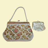 Spring Embroidered and Beaded Vintage White Floral Evening Bag with Gold Frame