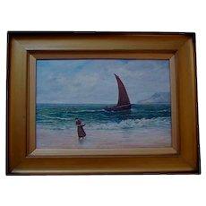 Antique Scottish Oil on Canvas Figure in Seascape 19th Century Trongate Scotland Provenance United Kingdom European Landscape