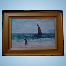 Antique Scottish Oil on Canvas Figure in Seascape 19th Century Trongate Scotland Provenance